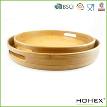European Luxe Collection Bamboo Round Tray/Bamboo Round Serving Tray/Homex_BSCI