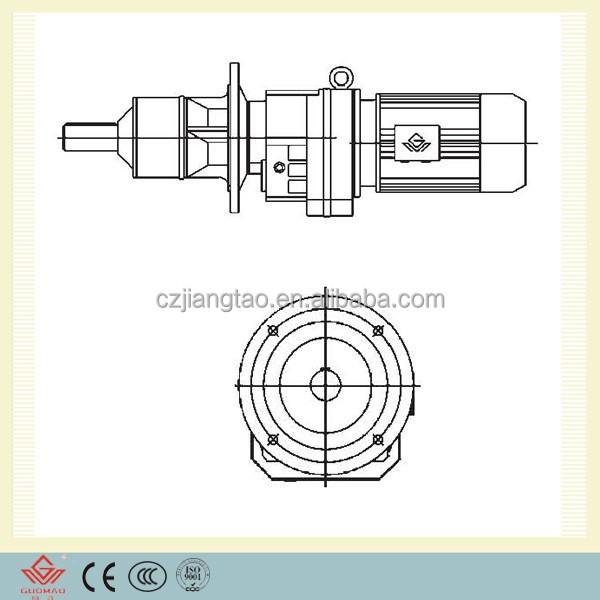 Flange mounted helical geared motor with extended bearing