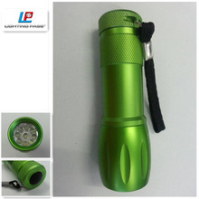 bowling shaped 9 led aluminium green led flashlight