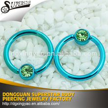 316L surgical steel blue IP captive bead ring with green gem ball