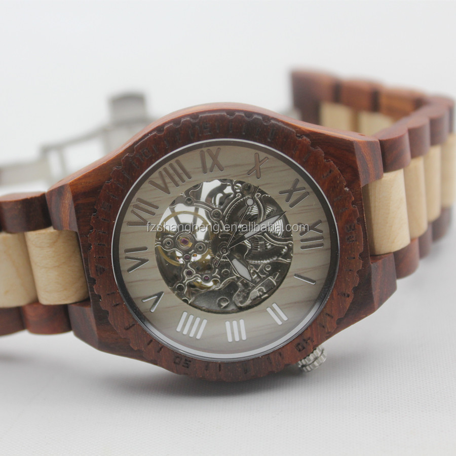 Quality wooden skeleton watches men machine watch movement