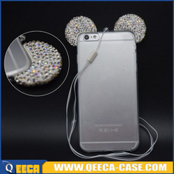 crystal beads mobile case for iphone 5 6 6s tpu ear phone case