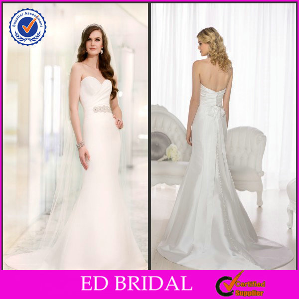 China Supplier Wedding Dresses China 2014 Strapless Sweetheart Pleated Beaded Mermaid Bridal Gown