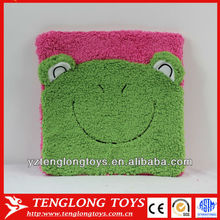 Hot sale lovely and soft customized animal plush frog cushion