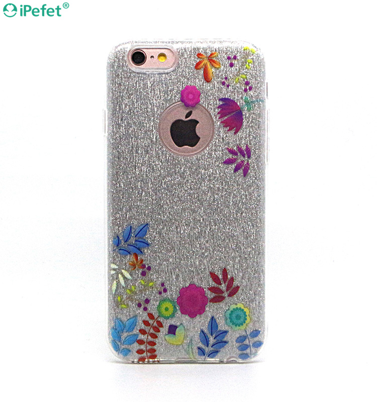 Fancy Flower UV printing cell phone cover 3 in 1 case
