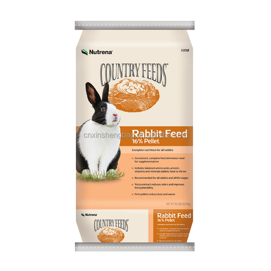 rabbit feed bag 50lb rabbit food packing bag empty pp woven bag