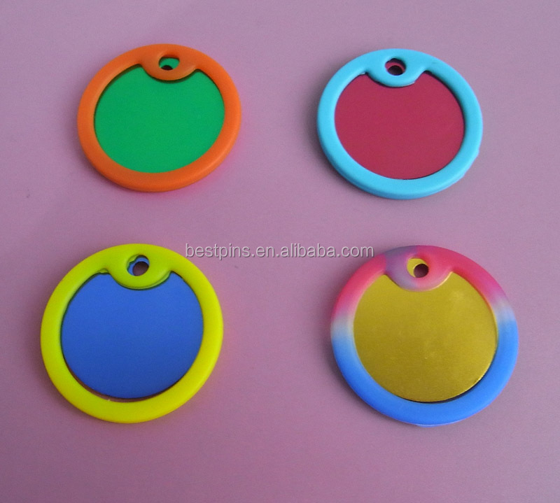 colorful round imprint aluminum dog cat pet ID tags silencers