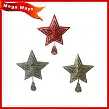Christmas metal red glitter star tree topper