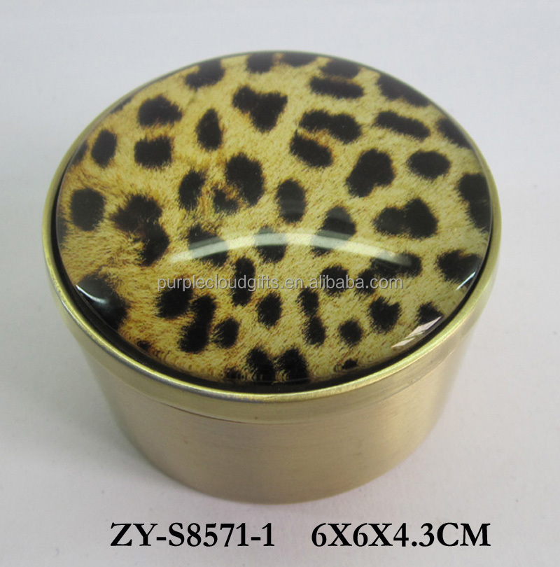 wholesale custom leopard print metal glass trinket jewelry box