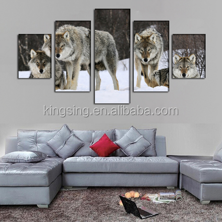 Unframed Wolf In Snow Modern Home Wall Decor Canvas Picture Art HD Print Painting On Canvas Artworks 5 Panels