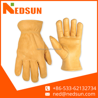 Yellow soft working cow leather driver gloves