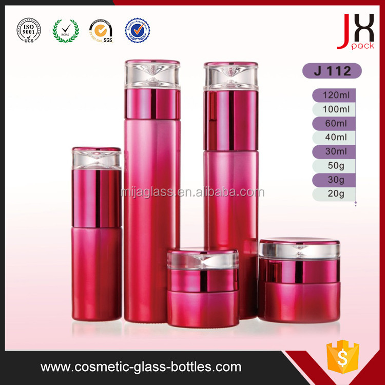 Empty 2oz Cosmetic Glass Jars and Bottles 10ml 15ml 30ml 40ml 50ml 30g/50g Empty Round Cosmetic Glass Jars with Plastic Lids