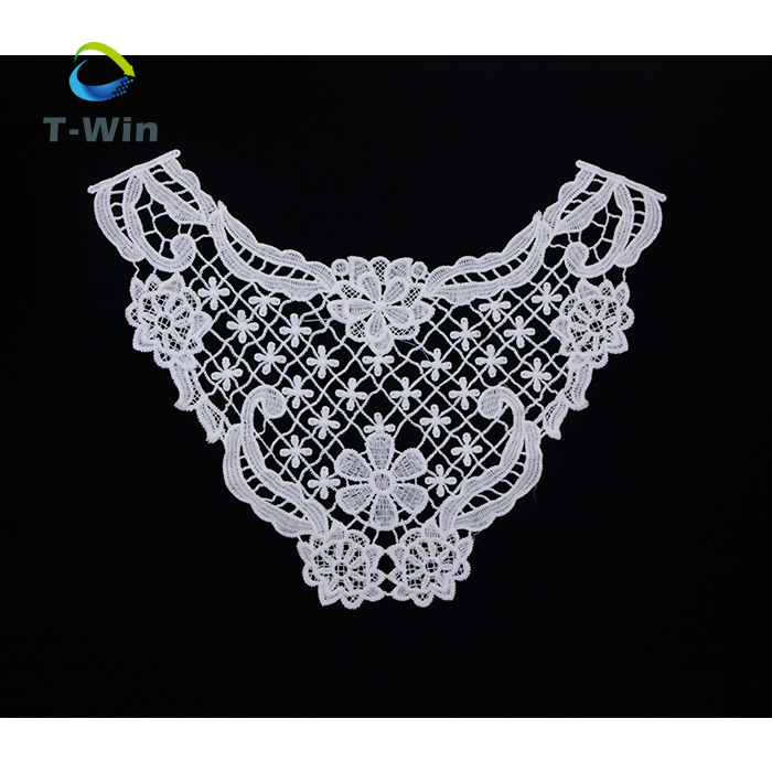 A white floral cotton lace collar applique / Round shape neckline collar motif is for sale