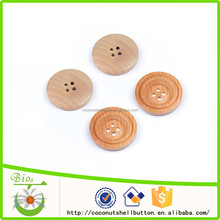 Natural color 4 holes concave wooden vest button bulk