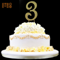 Wholesale 12cm height plating gold number 3 Diamante Rhinestone Cake Toppers For birthday Gift