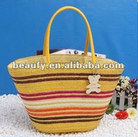 Mexico colorful striped straw beach bag for women