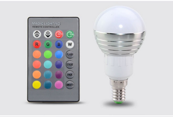 85V-265V 3W E27 E14 RGB LED Light 110v 220v Dimmable Bombillas Led E27 Bulb Spot Lamp Lighting + 24 key IR Remote Controller