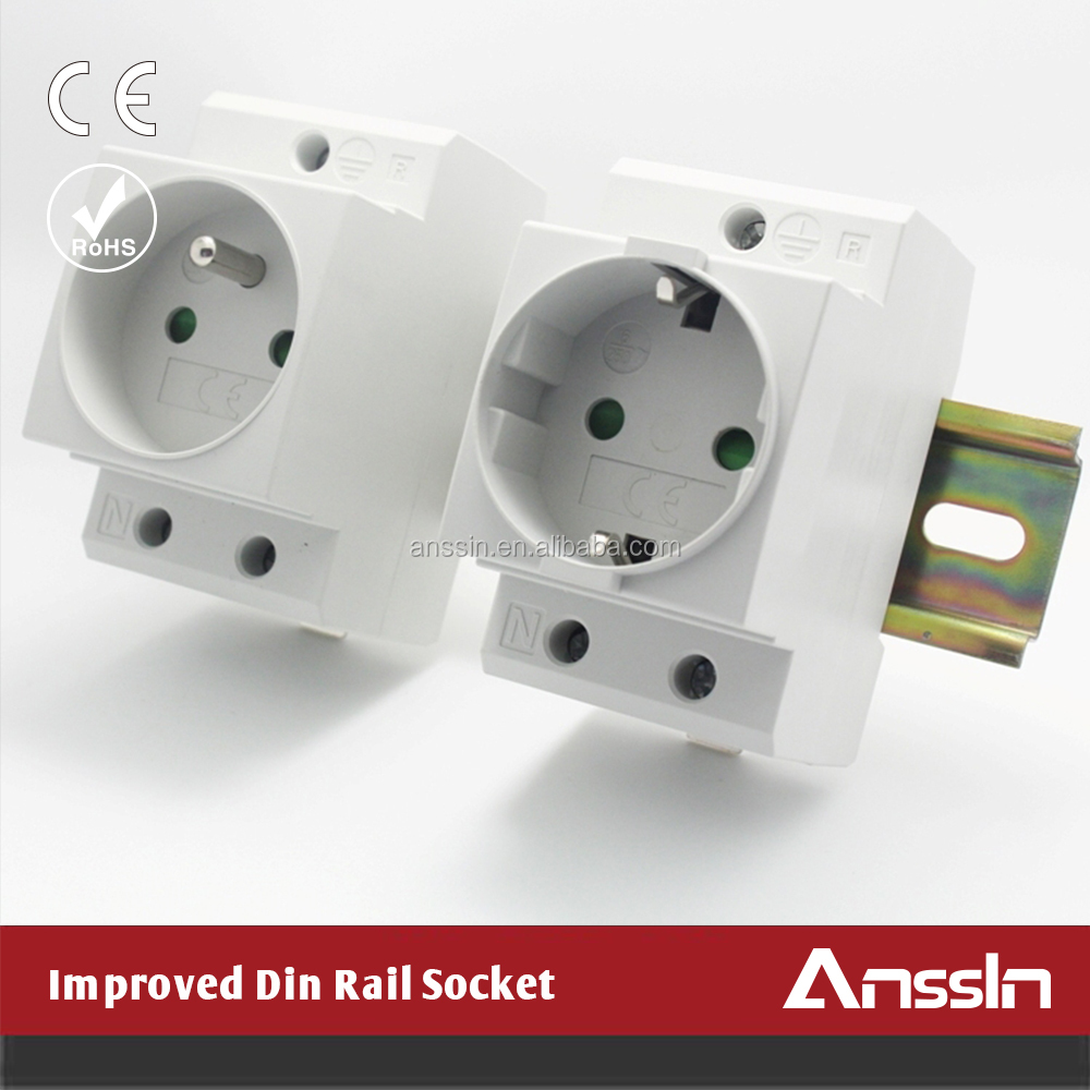 Color Customized Din Rail Mount 16A 250V schuko socket