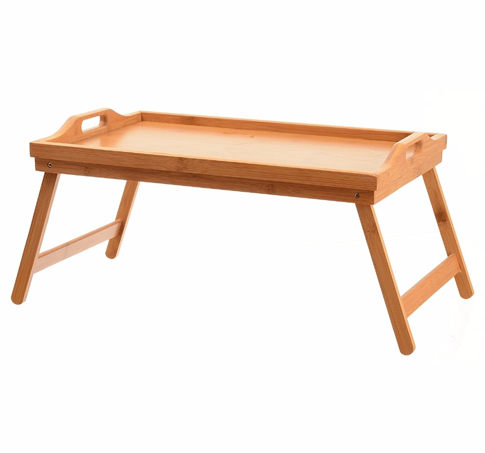 bamboo wooden laptop bed tray with foldable legs for TV and breakfast