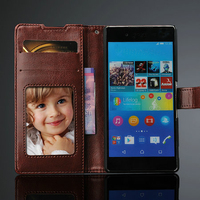 Wholesale Price CrazyHorse Pattern Magnetic Flip Wallet Leather Case for Sony Xperia Z4 Case with Card Slot