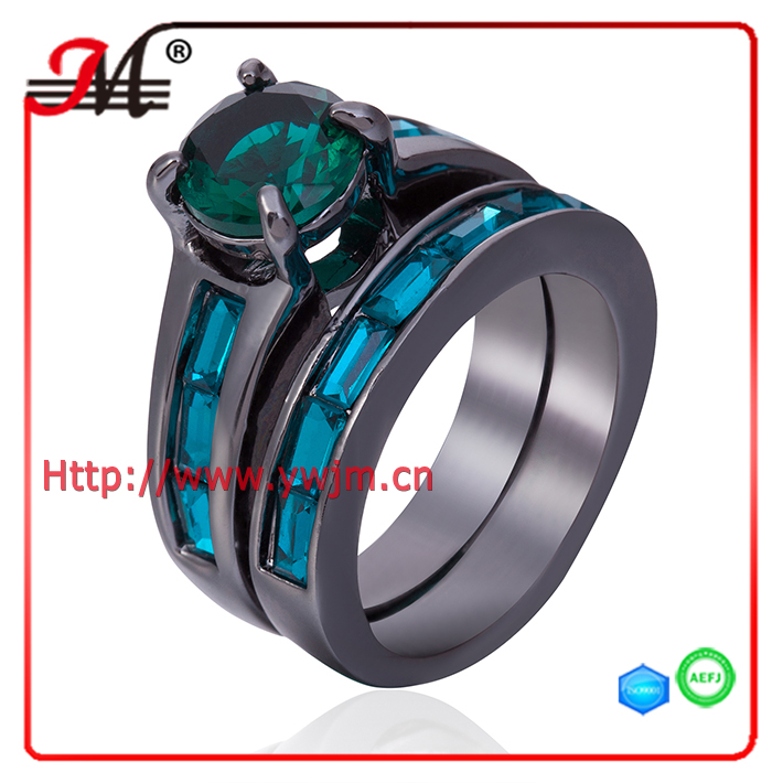 R7949BGR Jingmei fashion black gold green rectangle crystal ring emerald diamond wow ring