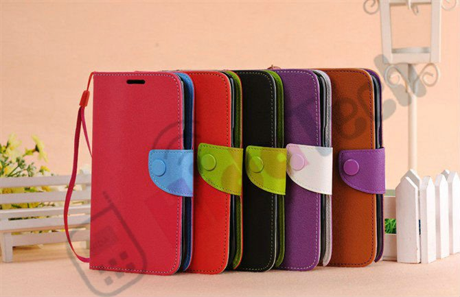 Wallet Leather Cover Case for Samsung Galaxy Note2 N7100, With Rope and Button Design,Stitch Leather Case