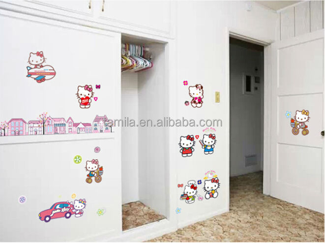 Removable Kids Cartoon hello kitty Wall Sticker