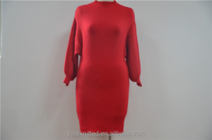 Standing Neck Tunic Batwing-sleeve Red Long Women Knitted Sweater Dress