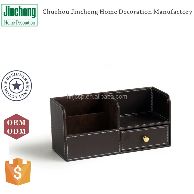 Leather desk organizer set, office desk organizer with drawer