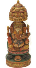WOODEN CHATRI LORD GANESHA STATUE HAND PAINTED