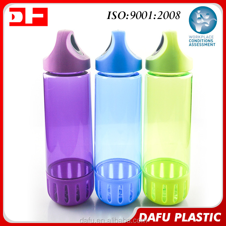 680ml plastic Ring lid Portable bpa free tritan bike plastic drinking water bottle with plastic sleeve