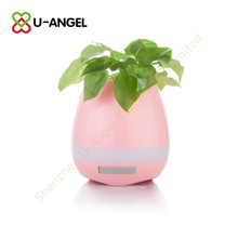 new products flower pot touch music mini car portable LED light speaker