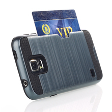 High quality metal brush phone case with card photo slot case wallet for samsung S5 i9600