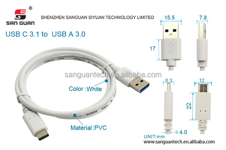 White usb-a to usb-c cable 56k safe cable compliant with type c specification