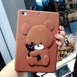 3D Brown bear Silicone Back Cover for iPad mini 2/3/4 Air