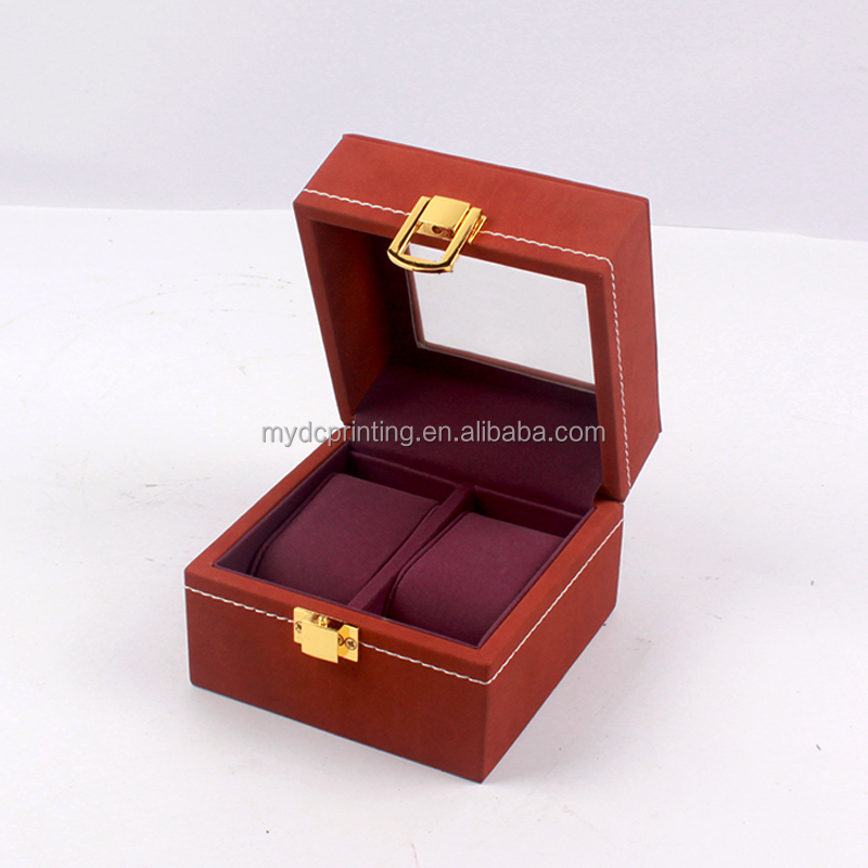 Custom Made Flocking Pillow Jewelry Watch Gift Box With Window