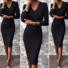 L2701A New Sexy Women Winter V-neck Long Sleeve Bodycon Lace Knee Length Pencil Dress