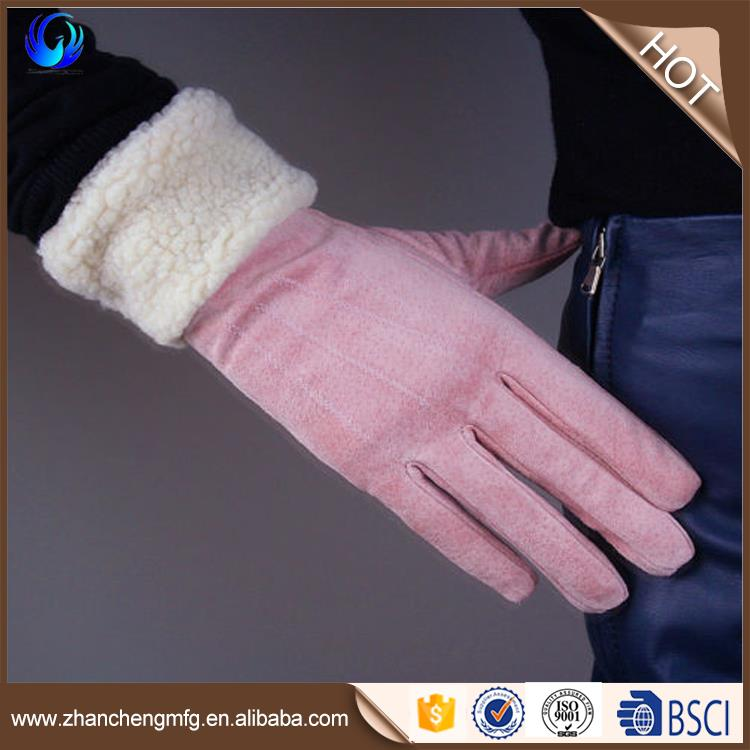 Warm Lady Genuine Pigskin Suede Leather Gloves Red color Rabbit Fur Trim