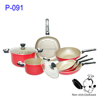 2015 new kitchenware 9 pieces pressed red aluminum nonstick grill pan induction fry pan korean cookware sets