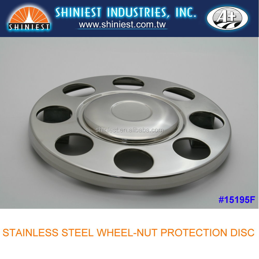 A+ 15195F for 19.5 inch stainless steel wheels, truck wheel nut protection disc covers