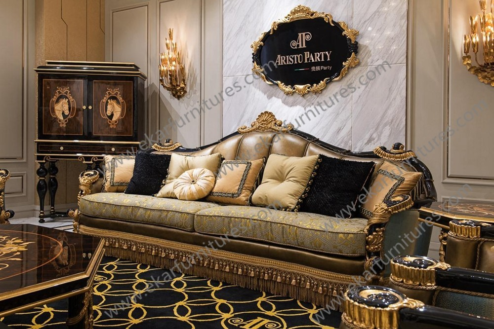 Luxury living room sofa sets classic home furniture for Luxury living room sofa