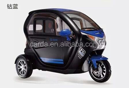 fashion family use mini car/ 2 passenger seat enclosed electric tricycle