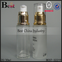 20ml 30ml 50ml frosted clear cosmetic pump bottle gold pump face cream container cheap skin care packaging