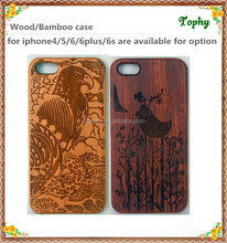 For iPhone 6 Bamboo wooden cell phone case, for iphone 6 plus bamboo iphone back cover engraved logo custom case