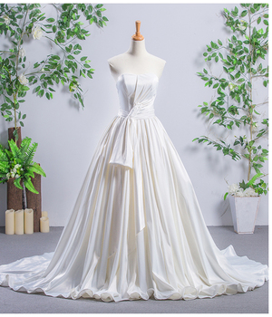 Jancemeber RSM66507 real luxury strapless long trail beach casual elegant white wedding dress