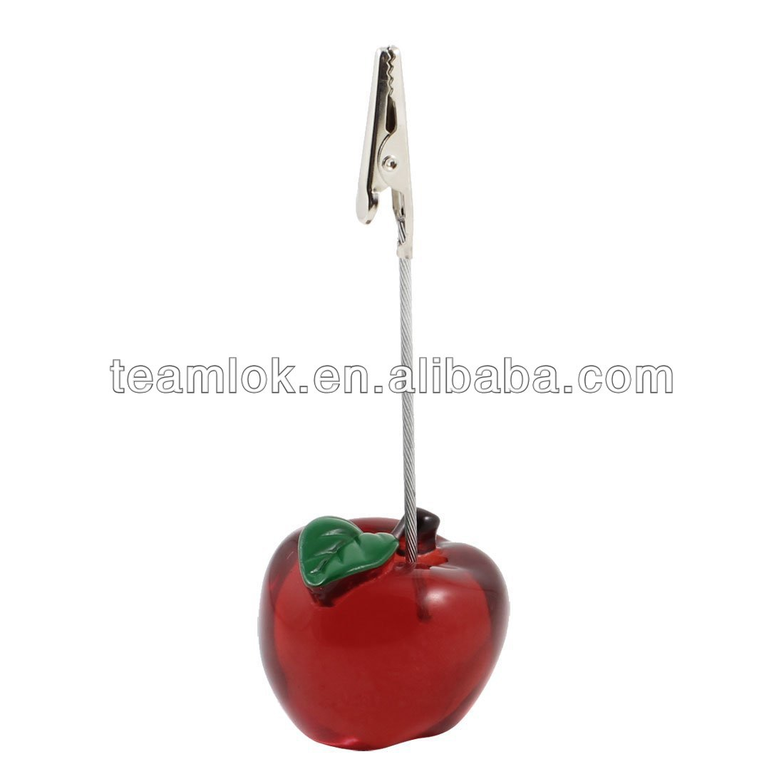 NEW Red Apple Design Name Card Photo Memo Clip Holder