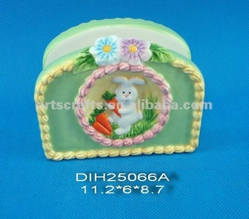 Ceramic tissue holder for Easter decoration