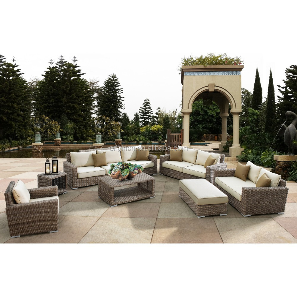 Luxury round rattan large garden use 8 seater sofa set and for Luxury garden furniture