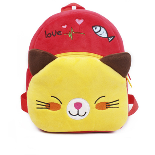 Cute little red kitty plush animal backpack for kids