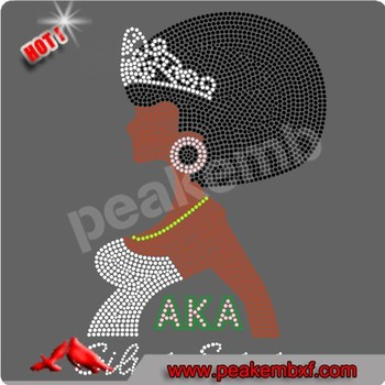 Vogue Afro Lady HotFix Motif Design Black Girls Rock Rhinestone Transfers